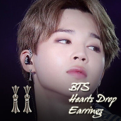 BTS BangtanBoys JIMIN Hearts Drop Earrings KPOP Hot Item Made In Korea 1Pair