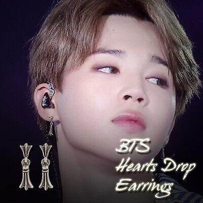 BTS BangtanBoys JIMIN Hearts Drop Earrings KPOP Hot Item Made In Korea 1Pair