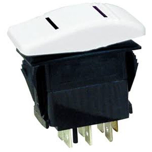 White Illuminated DPDT 3 Position On / Off / On Contura Rocker Switch for Boats