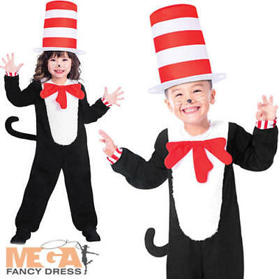 Cat In The Hat Costume For Girls (The Cat in the Hat Kids Fancy Dress Dr Seuss Boys Girls World Book Day Costume)