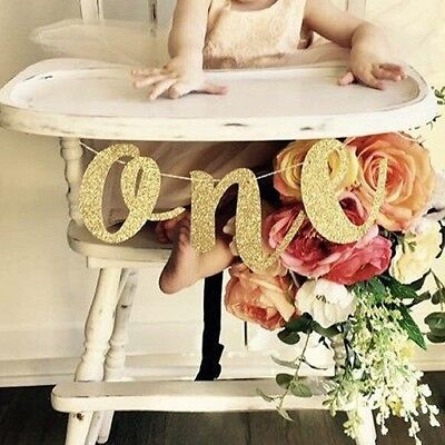 High Chair Banner (Glitter Number One Banner 1st Birthday High Chair Baby Shower Party)