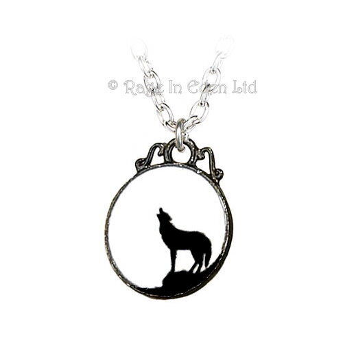 *THE WOLF* Alchemy Gothic 1977 Pewter & Enamel Pendant & Chain (P252)