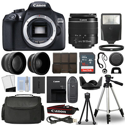 Canon 1300D / Rebel T6 DSLR Camera + 18-55mm 3 Lens Kit + 16GB Top Value Bundle for sale  Shipping to India