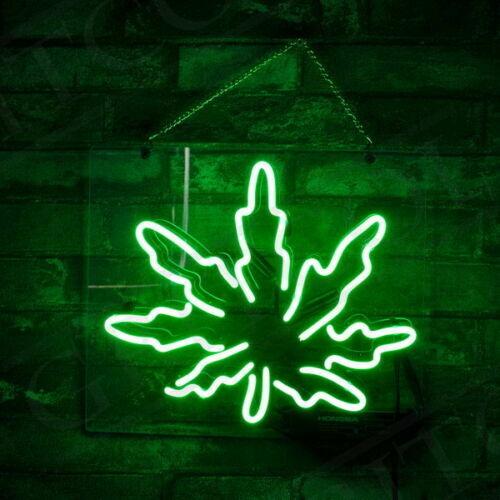 Weed Green Leaf Hemp Neon Light Sign Lamp Beer Pub Acrylic 1
