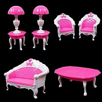 US 6Pcs Barbie Furniture Living Room Parlour Sofa Chair Set for Barbie Dollhouse