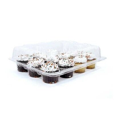 4pcs 12 Cupcake Cake Case Muffin Holder Box Container Carrier Clear Plastic 48 - Plastic Cake Containers