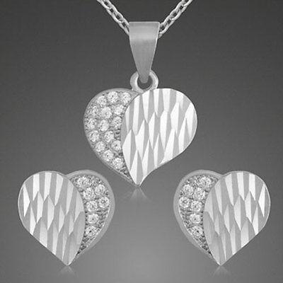 Schmuckset Herz(Anhänger+Ohrstecker+Kette)-925er Sterling Silber- neu-02