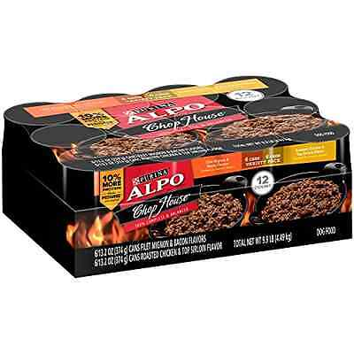 NEW Purina ALPO Chop House Brand Wet Dog Food 12-Pack Variety Flavor Can Vitamin