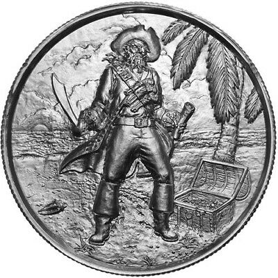 2 oz Elemetal The Captain Ultra High Relief Silver Round (Privateer Series (2 Oz Privateer Ultra High Relief Silver Round)