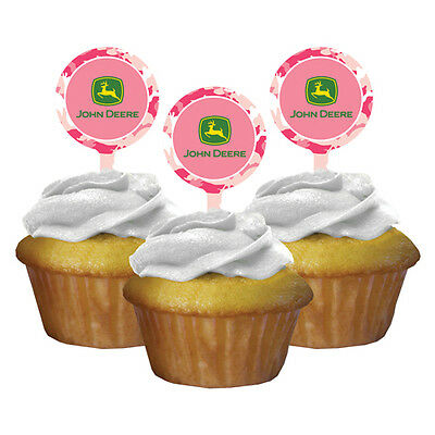 JOHN DEERE PINK CAMOUFLAGE CUPCAKE TOPPERS (12) ~ Birthday Party Supplies - Camouflage Birthday Cake