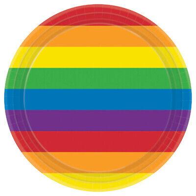 RAINBOW STRIPES LARGE PAPER PLATES (8) ~ Birthday Party Supplies Dinner Luncheon](Rainbow Birthday Plates)