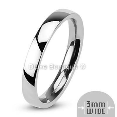 316l Stainless Steel Wedding Ring - 3mm Wide Stainless Steel 316L Classic Comfort Fit Wedding Ring Band Size 4-12