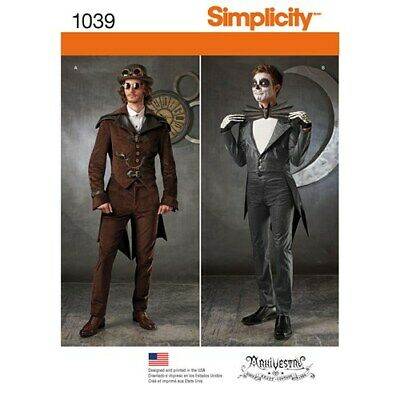 ....SIMPLICITY PATTERN 1039 MENS STEAMPUNK COSPLAY COSTUME SIZES 38-44 NEW UNCUT