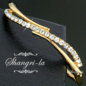 18K-18CT-GOLD-PLATED-ELEGANT-Curved-BANGLE-w-Swarovski-CRYSTAL-F056-Nickel-FREE