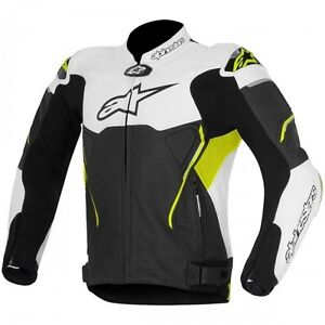 ALPINESTARS ATEM LEATHER JACKET YELLOW/JAQUETTE DE MOTO