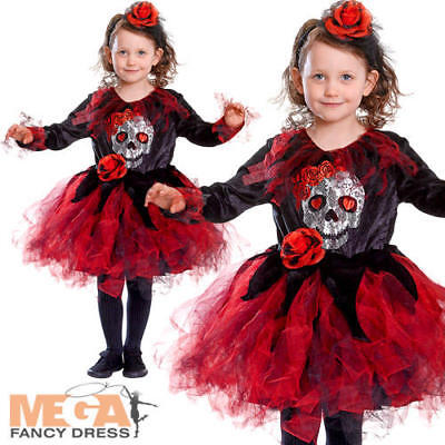 Skull Tutu Girls Fancy Dress Halloween Spooky Skeleton Rose Kids Childs Costume