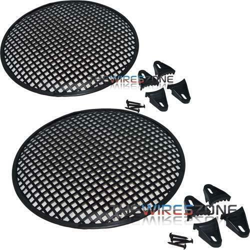 """12"""" Metal Speaker Subwoofer Sub Waffle Mesh Grill Cover w/ Clips & Screws (pair)"""