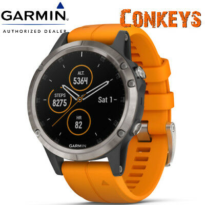 Garmin Fenix 5 Plus Sapphire Titanium w/ Solar Flare Orange Band 010-01988-04