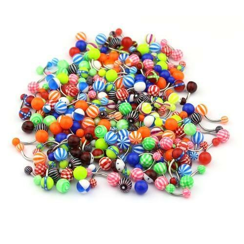 Lot 50Pcs 14G Belly Button Navel Rings Mix Color Stainless Barbell