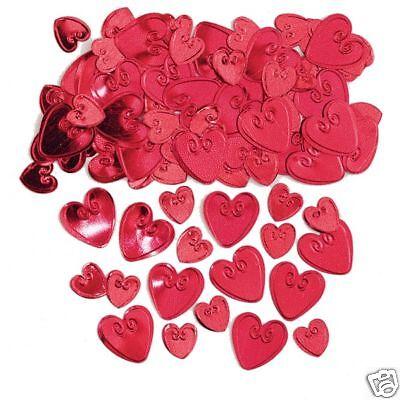 Rojo Loving Corazones Confeti de Mesa Relieve Rubí Boda Confeti
