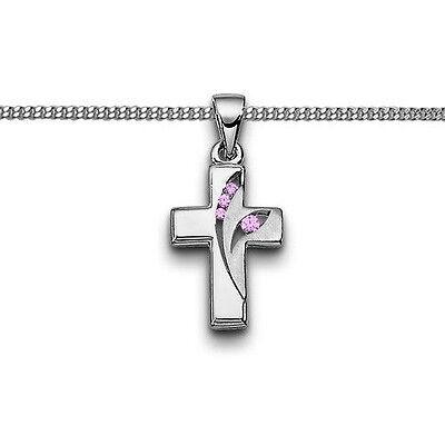Mädchen Zirkonia Kreuz Anhänger pink Taufe Erst- Kommunion mit Kette Silber 925