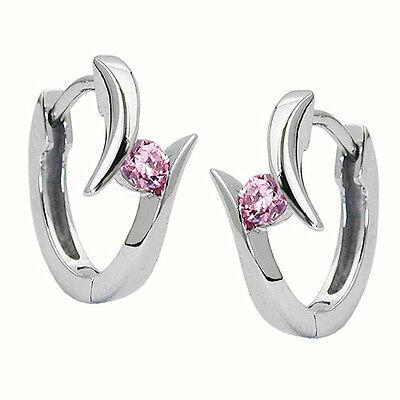 Damen Mädchen Scharnier Creolen Ohrringe mit Zirkonia pink Silber 925 rhodiniert