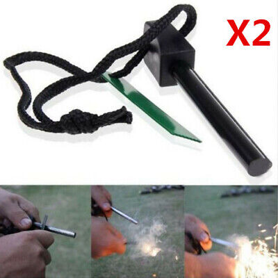 Magnesium Fire Starter Stick Rod Survival Kit Emergency Camping Outdoor 2 Pack