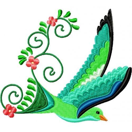 Embroidered Sweatshirt - Beautiful Birds PE07