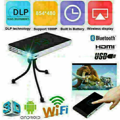 Mini Portable 3000 lumens DLP Android Wifi HD 1080P Video Home Theater Projector