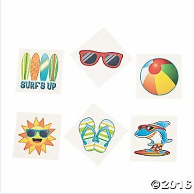 72 Beach Temporary Tattoos Luau Ocean Theme Birthday Party Favors Gifts  (Ocean Themed Tattoos)