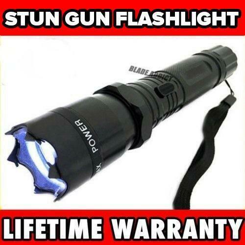 Metal MILITARY Stun Gun 999 Million Volt Rechargeable LED Flashlight + Case NEW