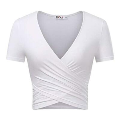 Womens Summer Crop Tops V Neck Short Sleeve Causal Basic Tee Cross Wrap (Cross Wrap)