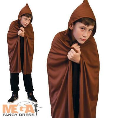 Brown Hooded Cape Kids Fancy Dress Wizard Jedi Cloak Childs Costume Accessory