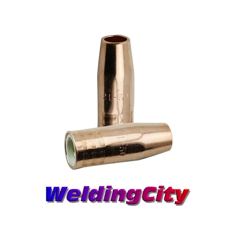 """WeldingCity 2-pk MIG Welding Gun Nozzle 21-50-F 1/2"""" for Lincoln 100L Tweco 100A"""
