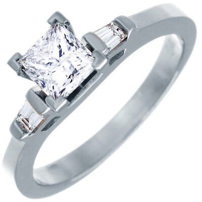GIA Certified Princess Cut Platinum Engagement Ladies Ring 1.50 CTW