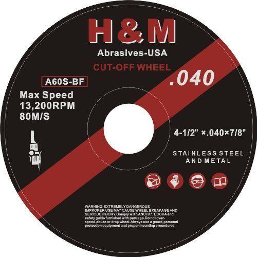 "25 4-1/2"" x .040"" x 7/8"" H&M Abrasive Cut-off Wheel 4 Angle Grinder cutting disc"