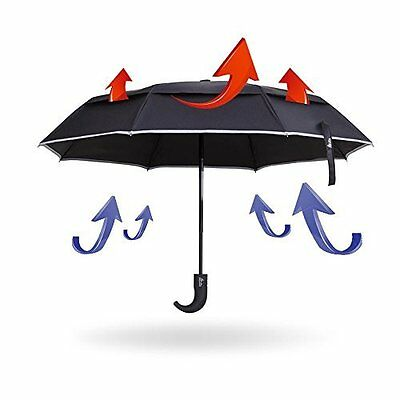 Asamoom Reflective Stripe 60 MPH Windproof Umbrella, Double Canopy Auto Open