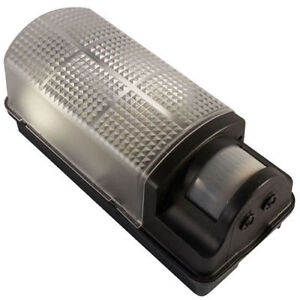 Robus 60W Bulkhead Fitting WITH PIR BLACK R60BHPIR *NEW STYLE* Security Light