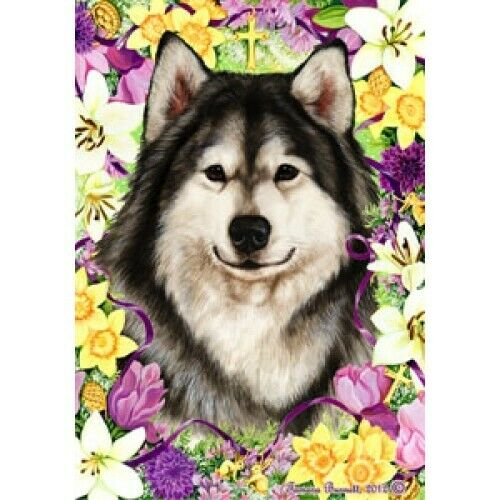 Easter House Flag - Alaskan Malamute 33147