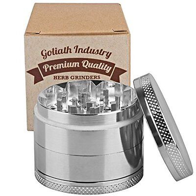 Silver 4 Piece Herb Herbal Tobacco Grinder Hand Muller Smoke Crusher 2 Inch
