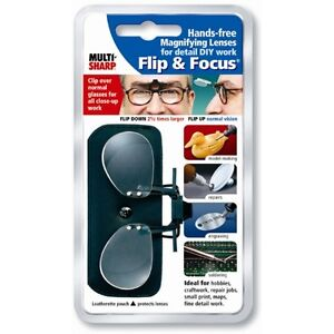 Multi-Sharp Flip & Focus Clip On Magnifying Lenses For Glasses