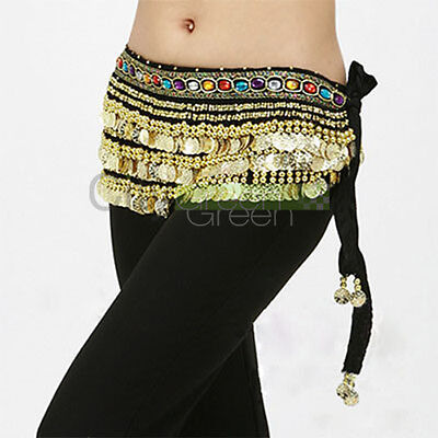 Velutum Belly Dance Hip Scarf Wrap Belt Costume with 248 Gold Coins Black #412 on Rummage
