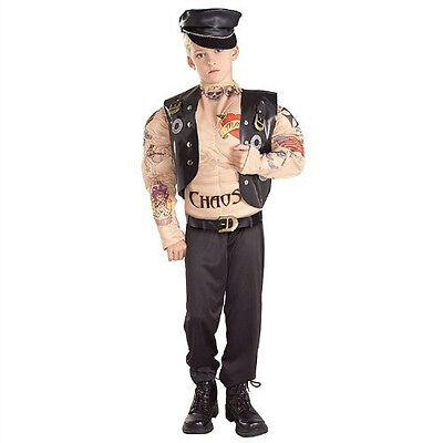 Macho Biker Child Muscle Chest Costume with Tattoos Size Small 4-6 (Biker Costume Kids)