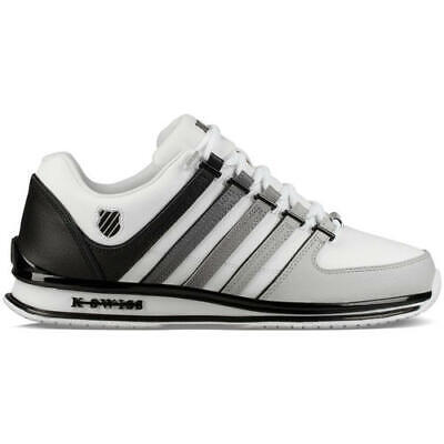 K-Swiss Rinzler Mens White Black Leather Trainers Shoes Size 8-11