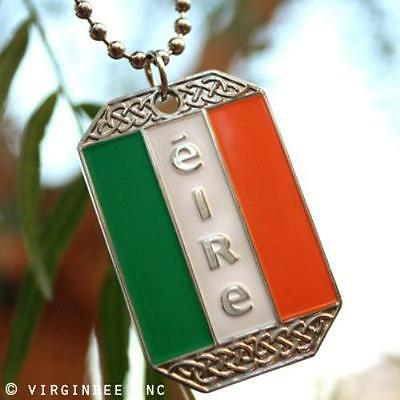IRELAND FLAG IRISH PENDANT ÉIRE DOG TAG BALL CHAIN NECKLACE NICKEL FREE METAL