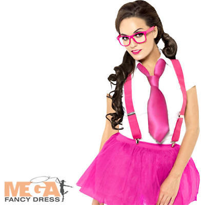 Pink Glam Geek Kit Ladies Fancy Dress Nerd School Uniform Costume Accessory - Nerd Kostüm Kit