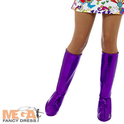 Purple Go Go Boots 1960s 1970s Ladies Fancy Dress Retro Womens Costume Accessory