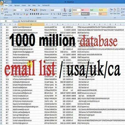 1000 Million Database Email Marketing List New Active Free Sending Methods