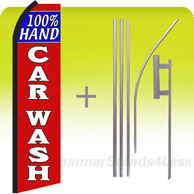 100 Hand Car Wash Swooper Flag Kit Feather Flutter Banner Sign 15 Set - Rz
