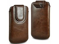 """Brand New Brown (PU) Leather Magnetic Pull Tab Pouch for 4"""" Mobile Phones"""